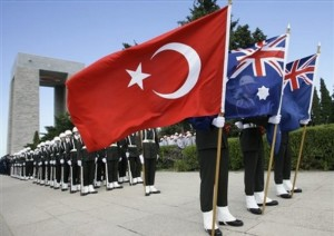 Turkish soldiers, holding national flags of Turkey, Australia and New Zealand, stand guard during the Anzac Day ceremonies at the Turkish memorial in Gallipoli, northwestern Turkey, Thursday, April 24, 2008. The annual Anzac Day ceremonies remember the forces of the Australian and New Zealand Army Corps under British command who fought a bloody nine-month battle against Turkish forces on the Gallipoli peninsula in 1915. (AP Photo/Ibrahim Usta)