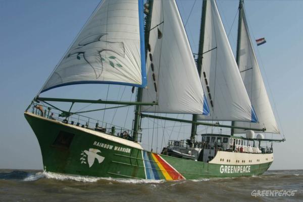 Rainbow Warrior II sailing through Gulf of Khambat, Arabian Sea. Accession #: 3.0421.001.20
