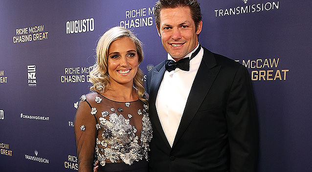 AUCKLAND, NEW ZEALAND - AUGUST 30: Richie McCaw and fiance Gemma Flynn arrive at the Premiere for 'Chasing Great: The Richie McCaw Movie' at The Civic on August 30, 2016 in Auckland, New Zealand. (Photo by Fiona Goodall/Getty Images)